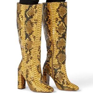 NIB Mustard Yellow Snakeskin knee high boot